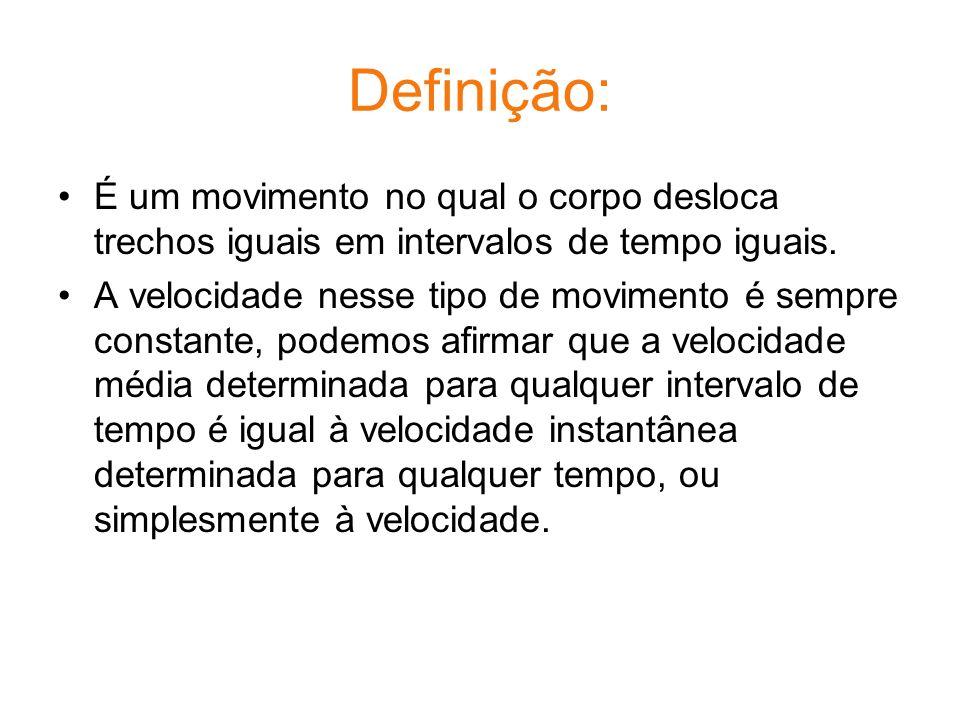 Definição: É um movimento no qual o corpo desloca trechos iguais em intervalos de tempo iguais.