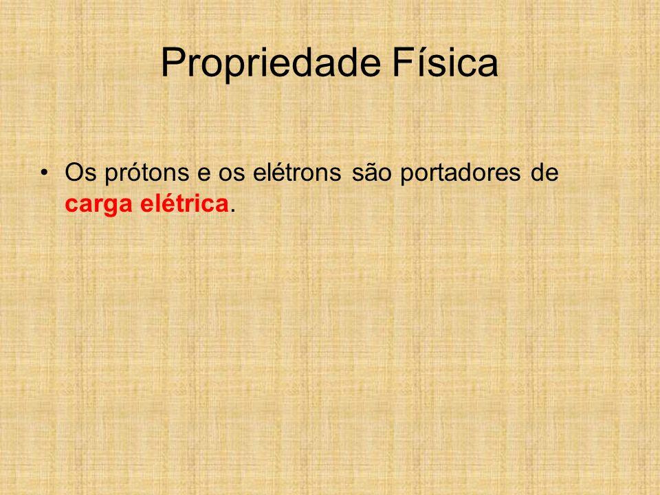 Propriedade Física Os prótons e os elétrons são portadores de carga elétrica.
