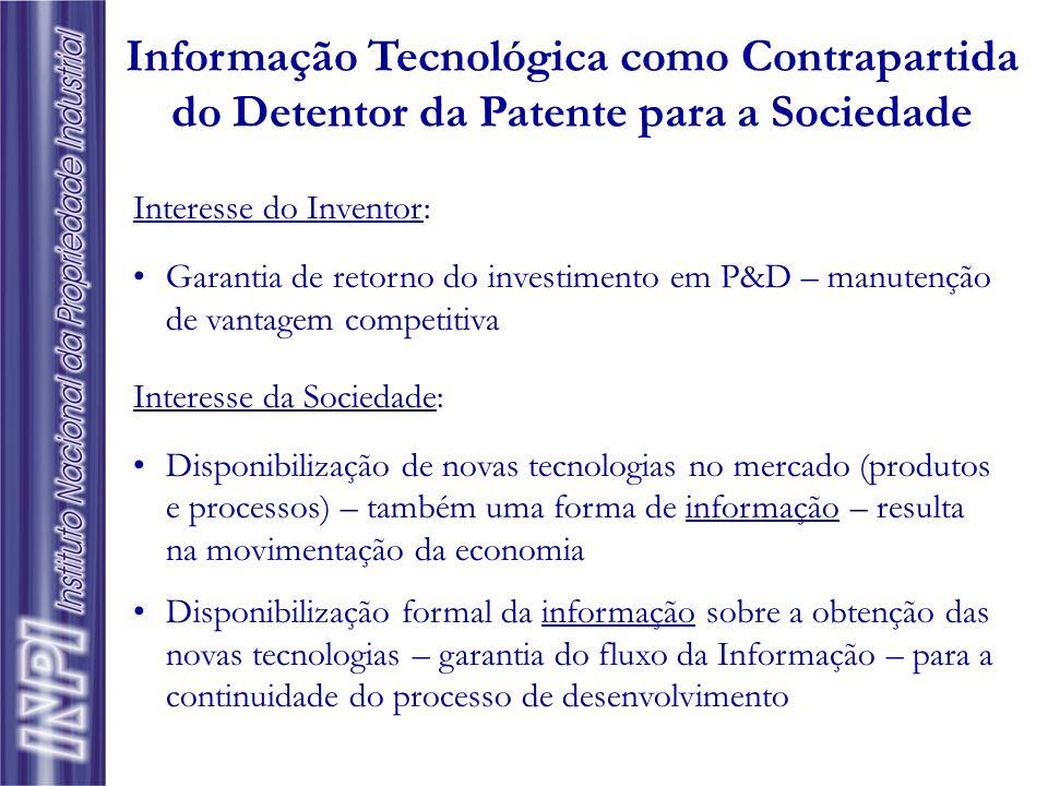 Informação Tecnológica como Contrapartida do Detentor da Patente para a Sociedade