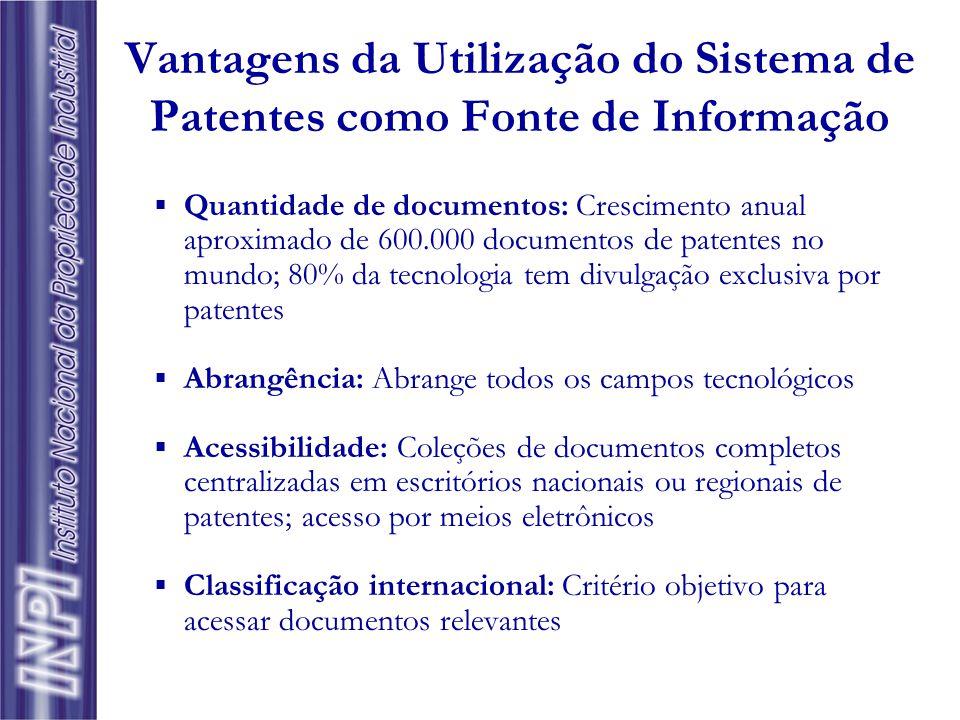 Vantagens da Utilização do Sistema de Patentes como Fonte de Informação