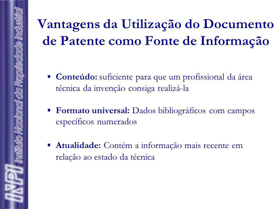 Vantagens da Utilização do Documento de Patente como Fonte de Informação