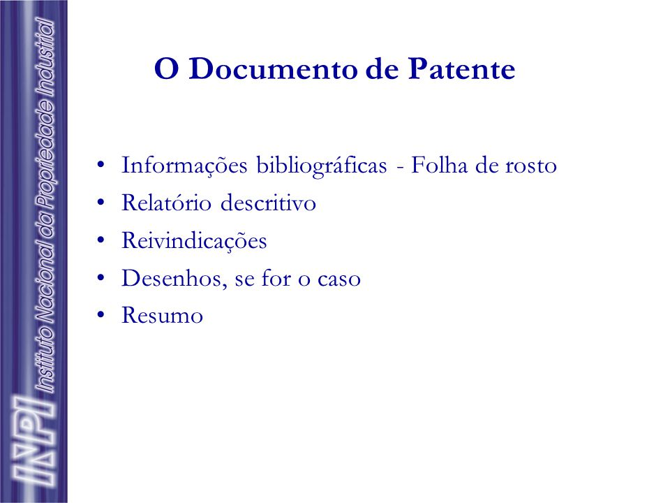 O Documento de Patente Informações bibliográficas - Folha de rosto