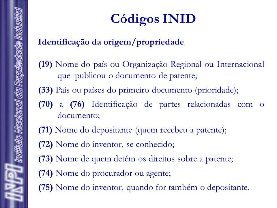 Códigos INID Identificação da origem/propriedade