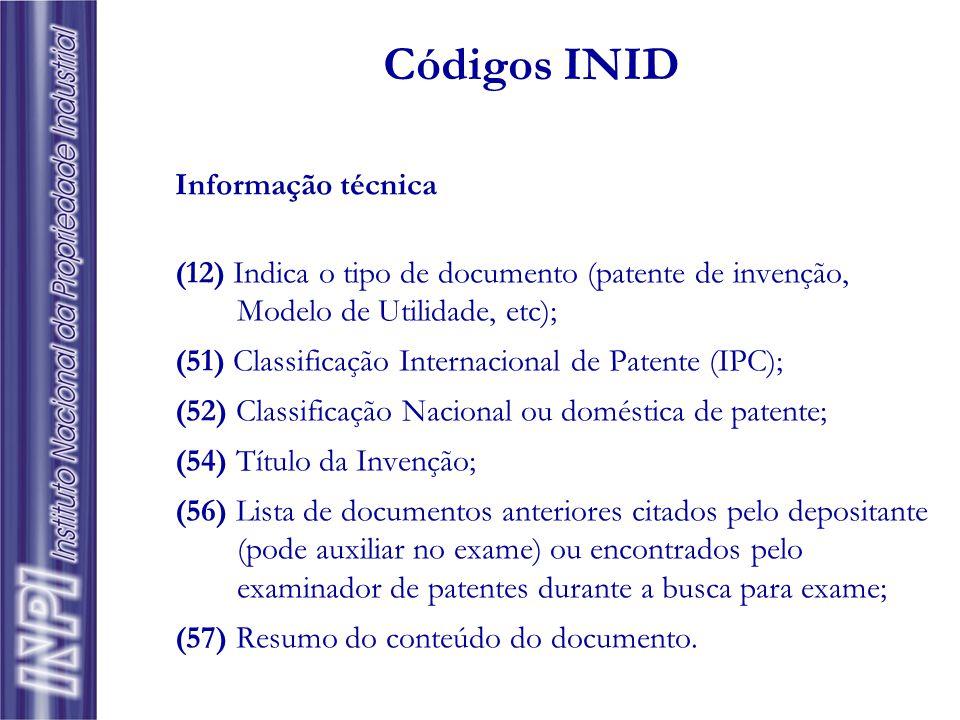 Códigos INID Informação técnica