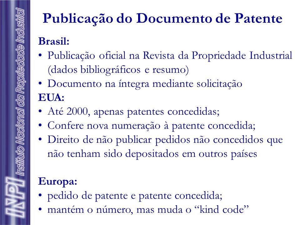 Publicação do Documento de Patente
