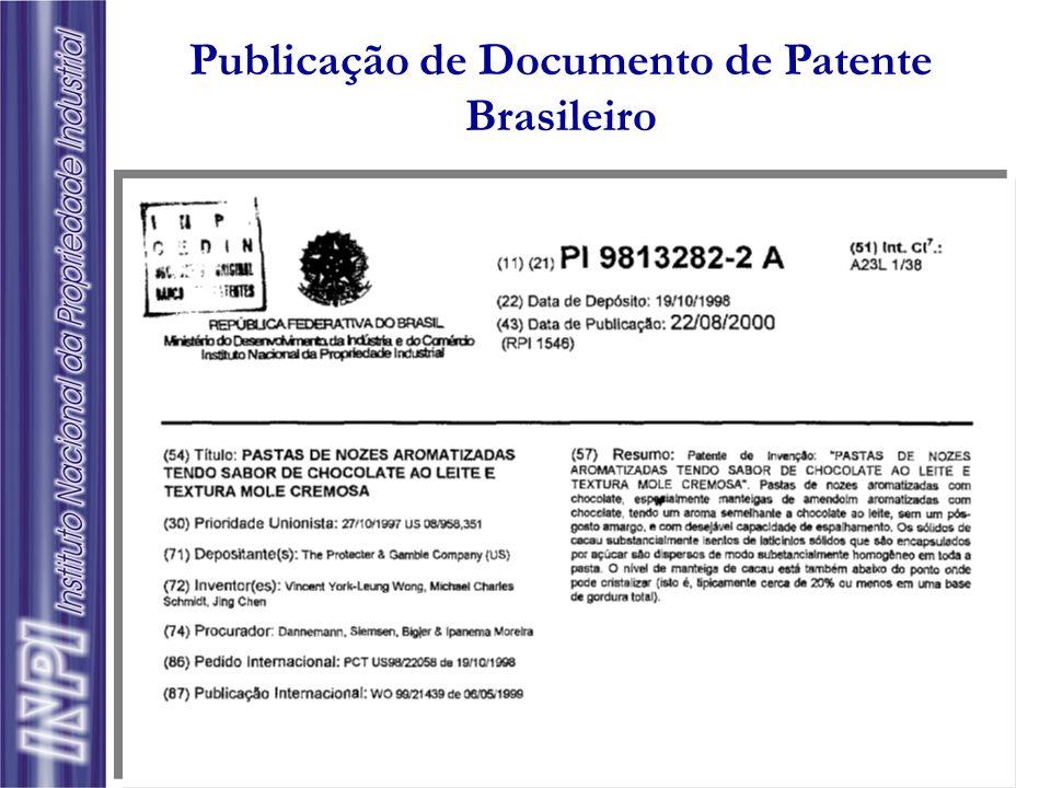 Publicação de Documento de Patente Brasileiro