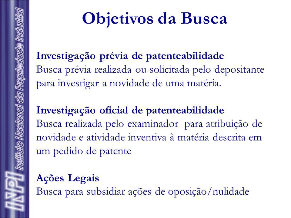 Objetivos da Busca Investigação prévia de patenteabilidade