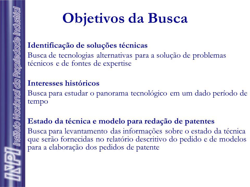 Objetivos da Busca Identificação de soluções técnicas