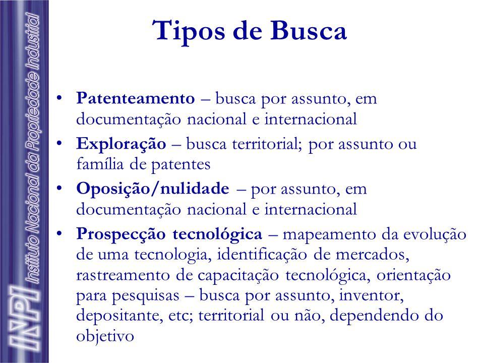 Tipos de Busca Patenteamento – busca por assunto, em documentação nacional e internacional.