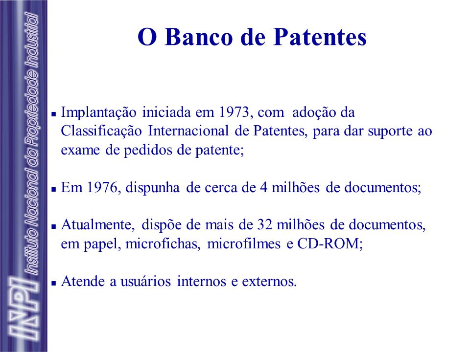 O Banco de Patentes