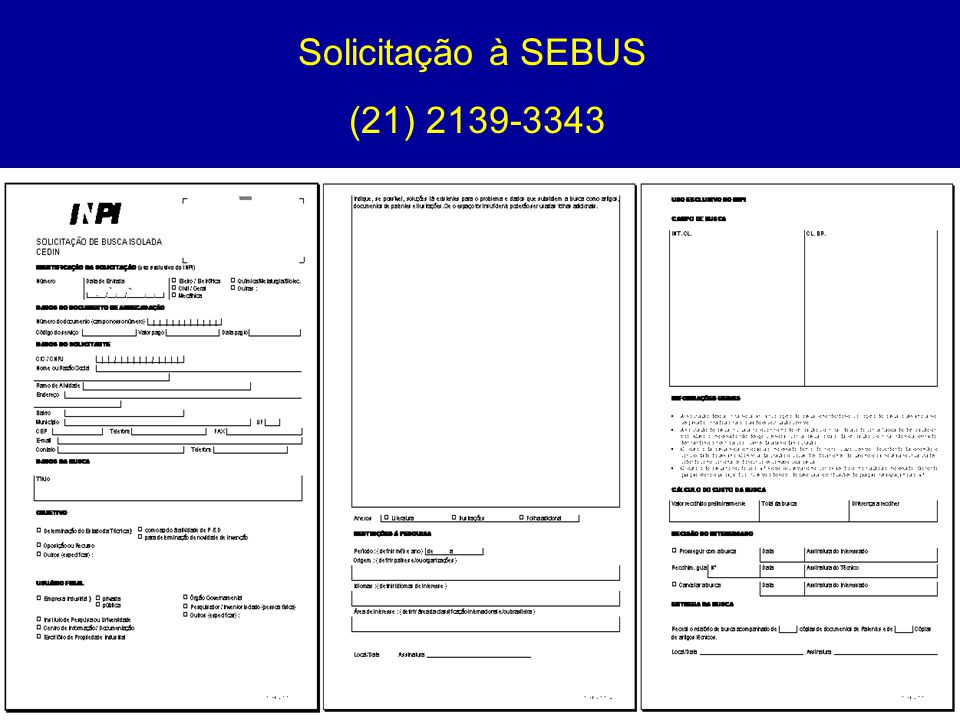 Solicitação à SEBUS (21) 2139-3343