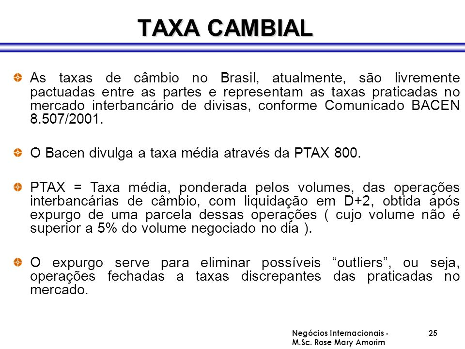 TAXA CAMBIAL
