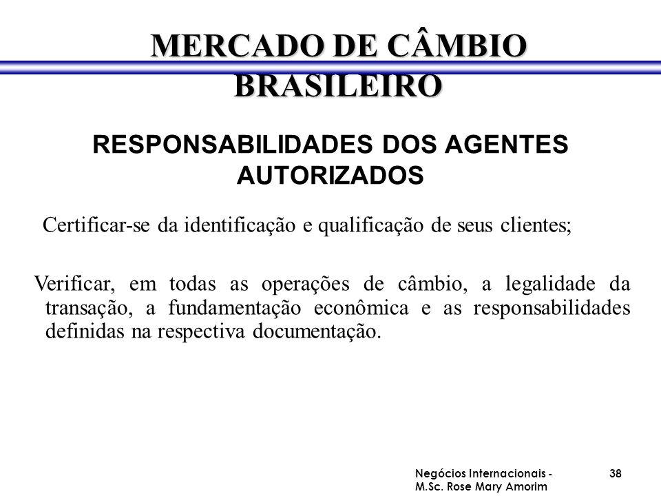 RESPONSABILIDADES DOS AGENTES AUTORIZADOS