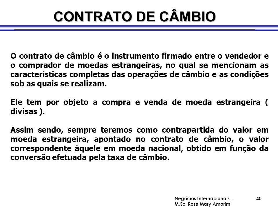 CONTRATO DE CÂMBIO