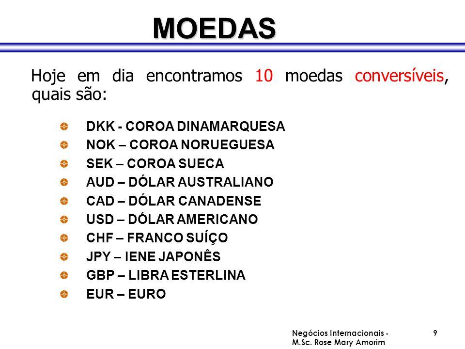 MOEDAS Hoje em dia encontramos 10 moedas conversíveis, quais são: