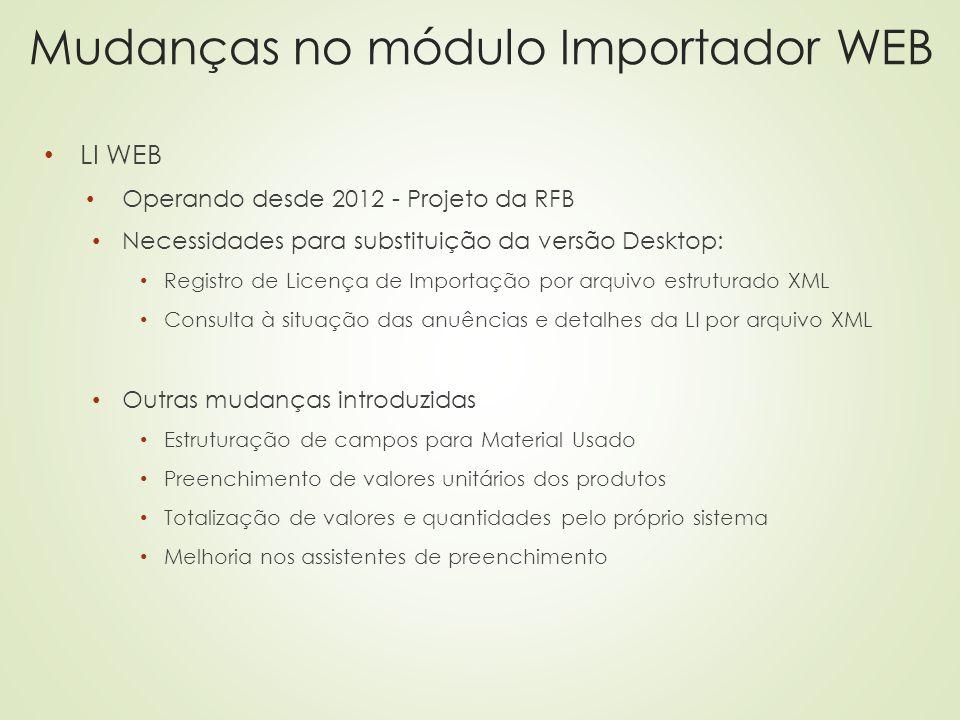 Mudanças no módulo Importador WEB