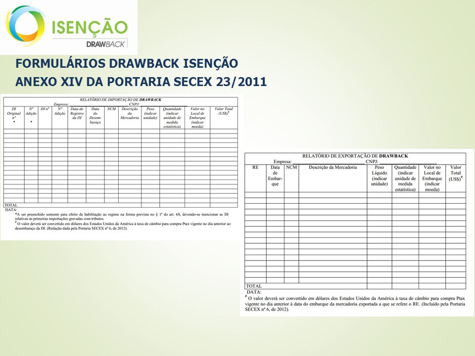 FORMULÁRIOS DRAWBACK ISENÇÃO