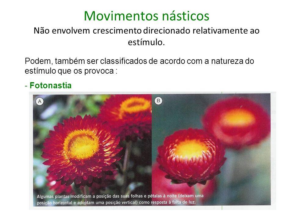 Movimentos násticos Não envolvem crescimento direcionado relativamente ao estímulo.