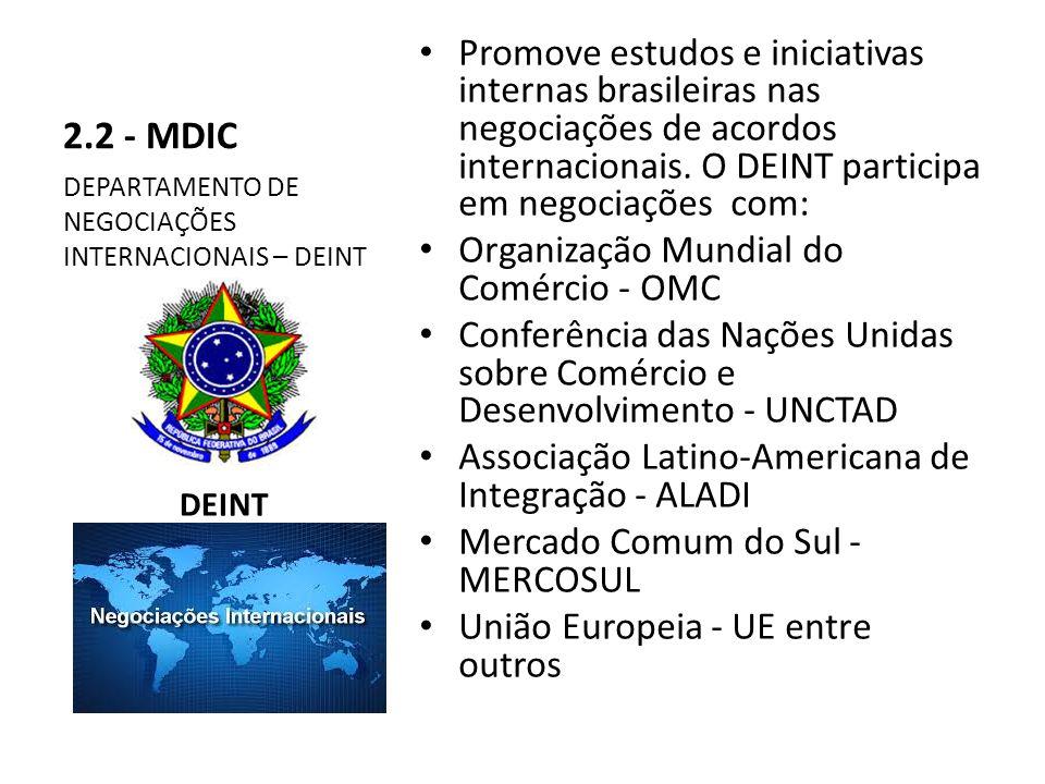 2.2 - MDIC Promove estudos e iniciativas internas brasileiras nas negociações de acordos internacionais. O DEINT participa em negociações com:
