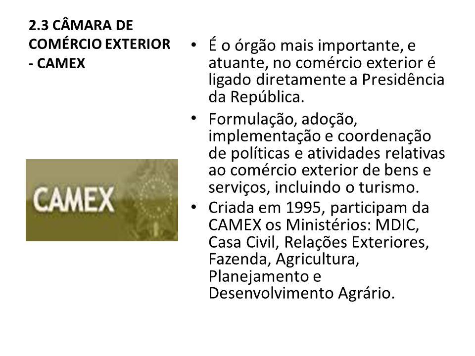 2.3 CÂMARA DE COMÉRCIO EXTERIOR - CAMEX