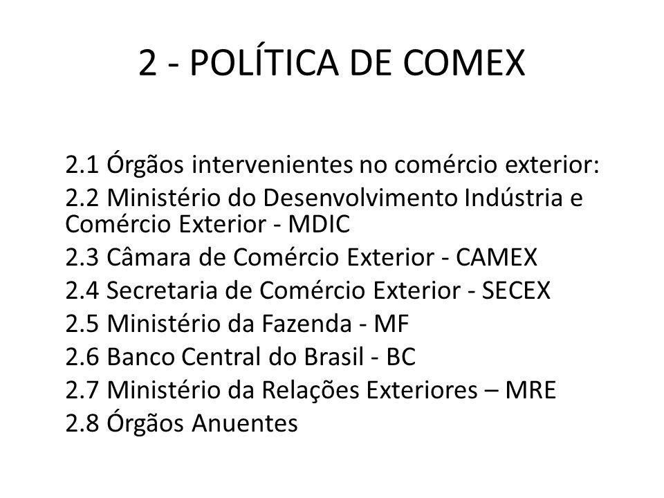 2 - POLÍTICA DE COMEX