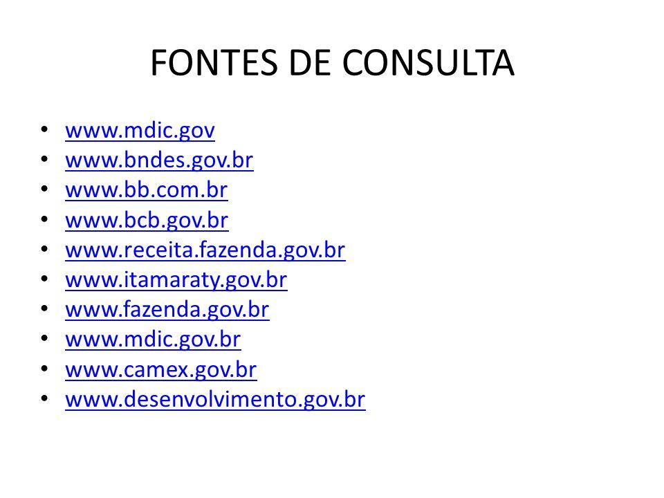 FONTES DE CONSULTA www.mdic.gov www.bndes.gov.br www.bb.com.br