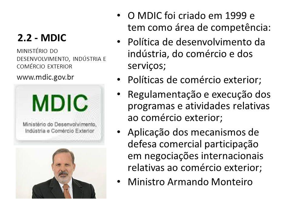 2.2 - MDIC O MDIC foi criado em 1999 e tem como área de competência: