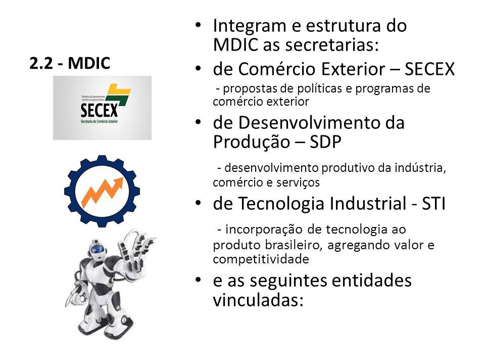 Integram e estrutura do MDIC as secretarias: