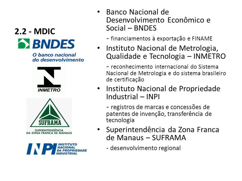 2.2 - MDIC Banco Nacional de Desenvolvimento Econômico e Social – BNDES. - financiamentos à exportação e FINAME.