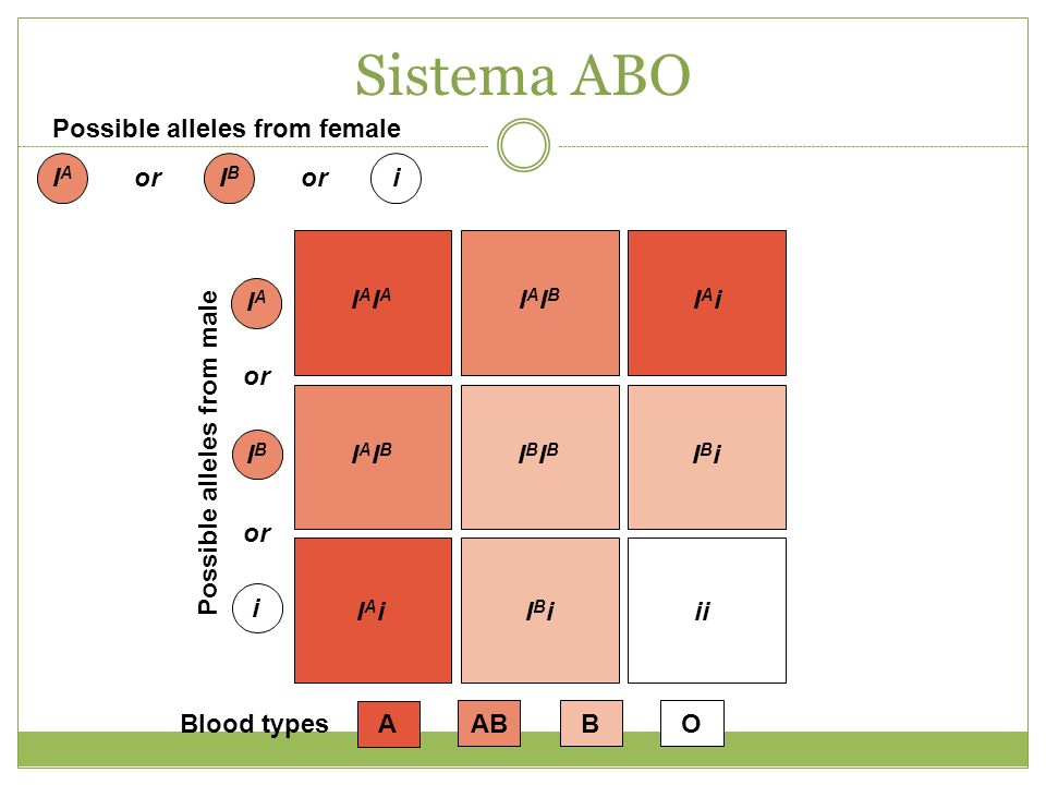 Sistema ABO Possible alleles from female IA or IB i IAIA IAIB IAi IA