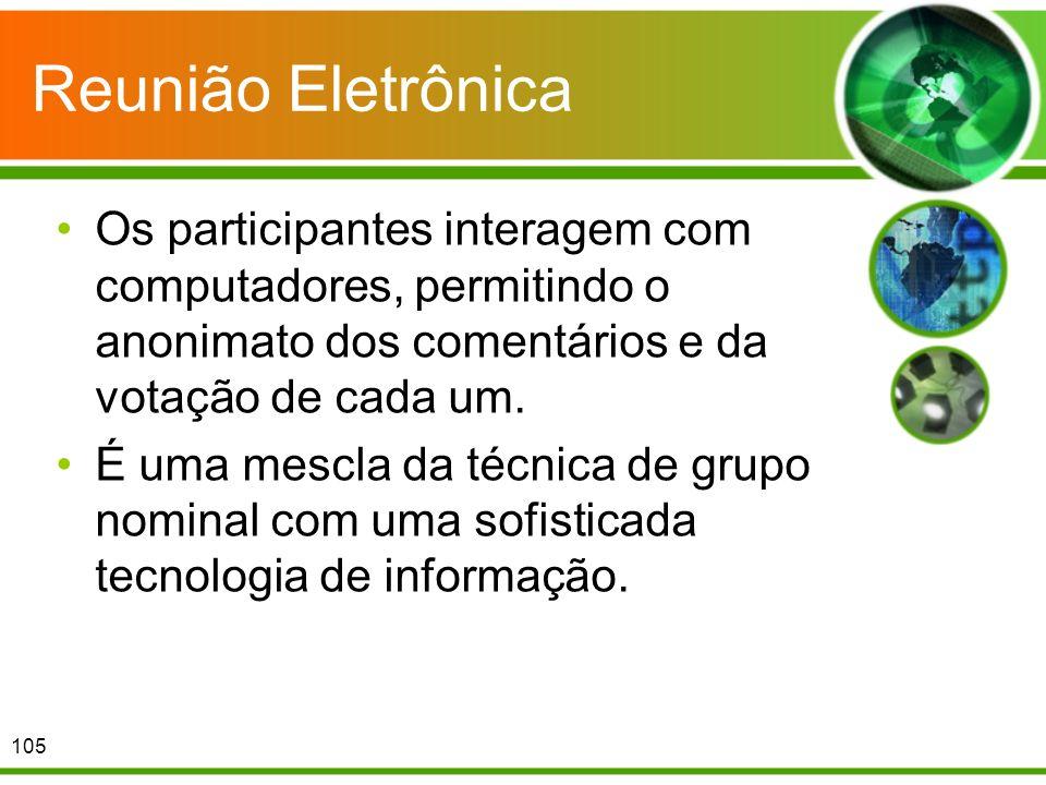 Reunião EletrônicaOs participantes interagem com computadores, permitindo o anonimato dos comentários e da votação de cada um.