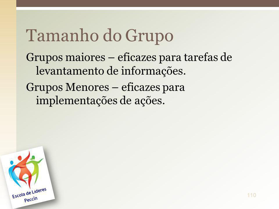 Tamanho do Grupo Grupos maiores – eficazes para tarefas de levantamento de informações.