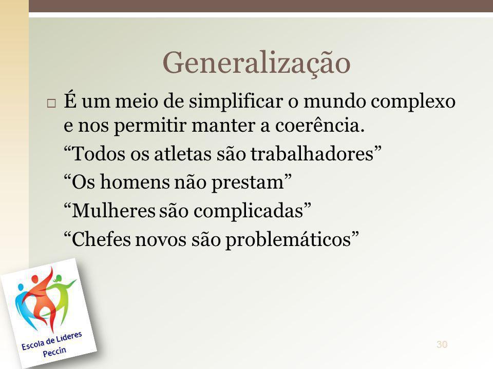 GeneralizaçãoÉ um meio de simplificar o mundo complexo e nos permitir manter a coerência. Todos os atletas são trabalhadores