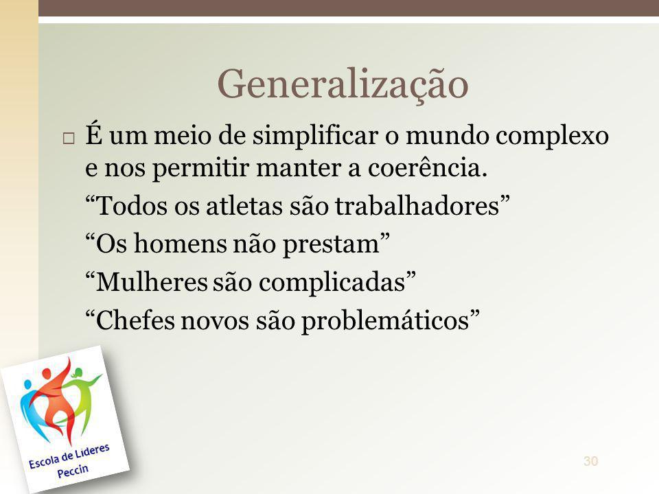 Generalização É um meio de simplificar o mundo complexo e nos permitir manter a coerência. Todos os atletas são trabalhadores