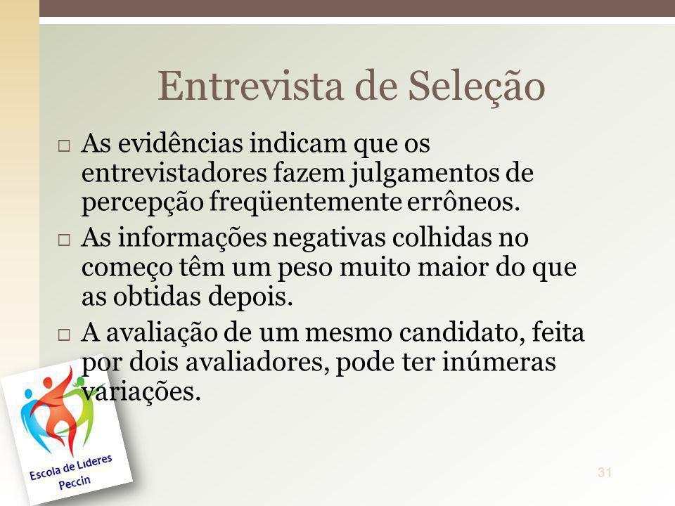 Entrevista de SeleçãoAs evidências indicam que os entrevistadores fazem julgamentos de percepção freqüentemente errôneos.