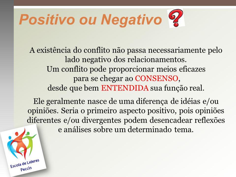 Positivo ou Negativo A existência do conflito não passa necessariamente pelo.