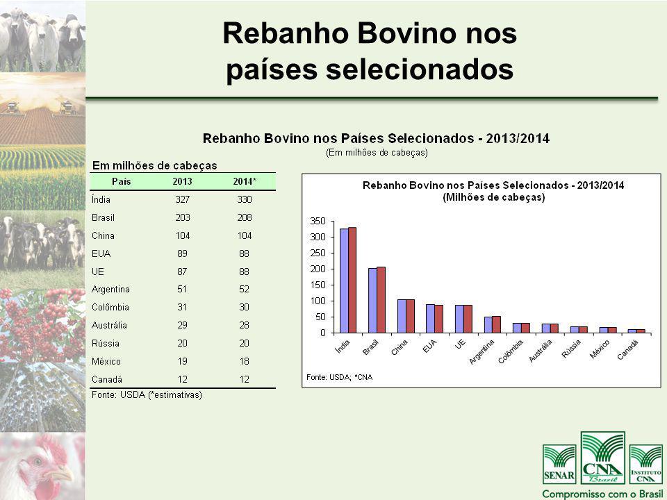Rebanho Bovino nos países selecionados