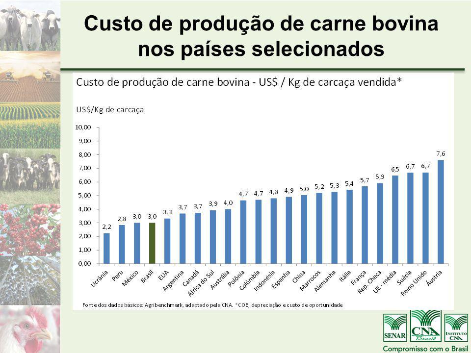 Custo de produção de carne bovina nos países selecionados