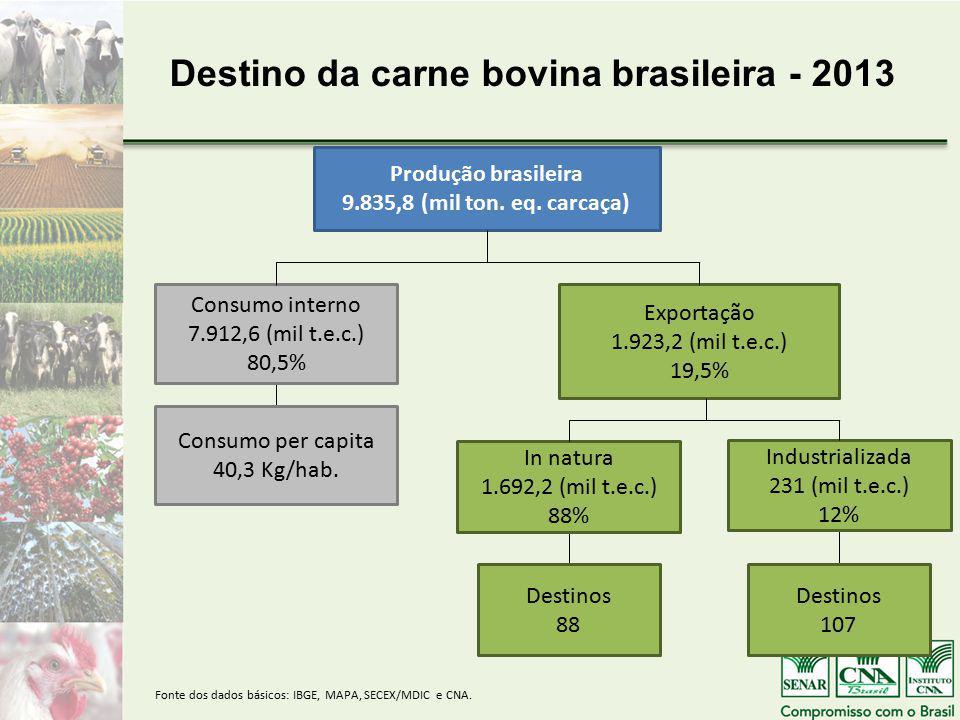 Destino da carne bovina brasileira - 2013