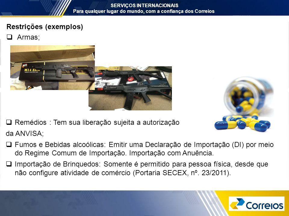 Restrições (exemplos) Armas;