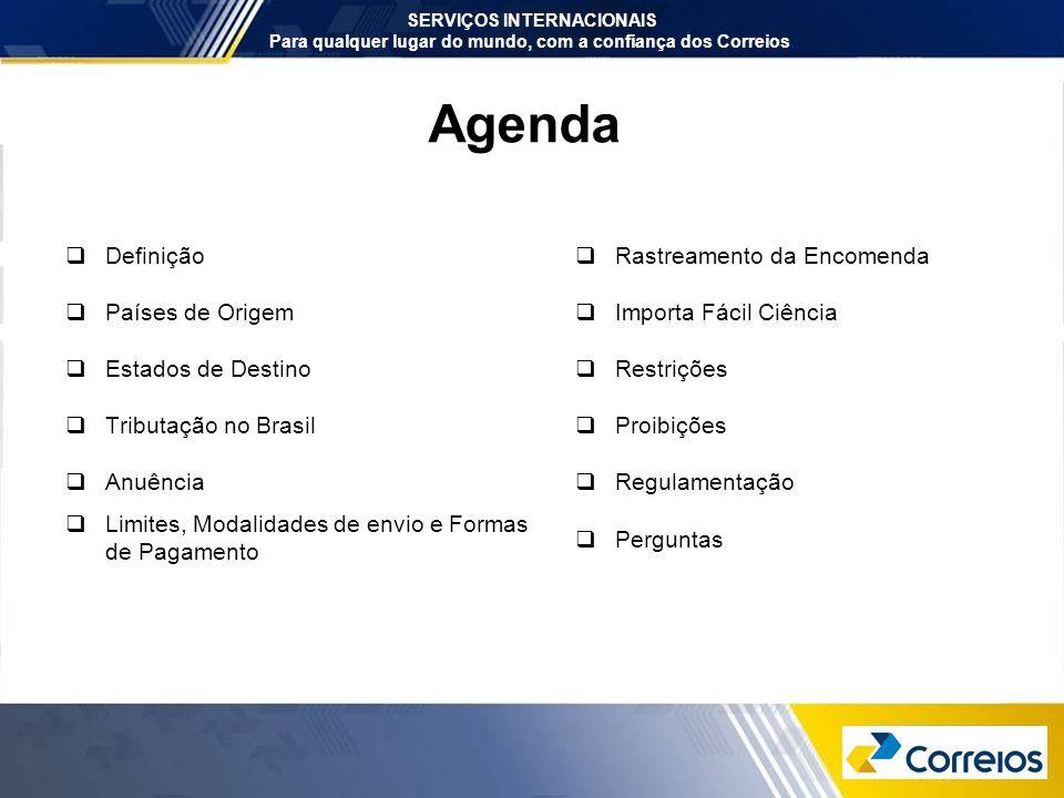 Agenda Definição Países de Origem Estados de Destino