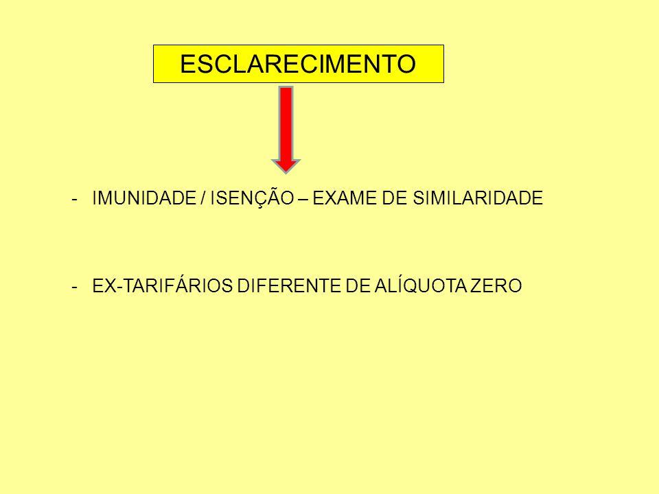 ESCLARECIMENTO IMUNIDADE / ISENÇÃO – EXAME DE SIMILARIDADE