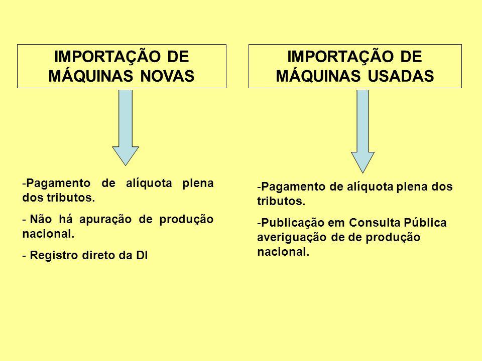 IMPORTAÇÃO DE MÁQUINAS NOVAS IMPORTAÇÃO DE MÁQUINAS USADAS