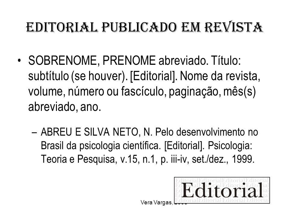 Editorial publicado em revista