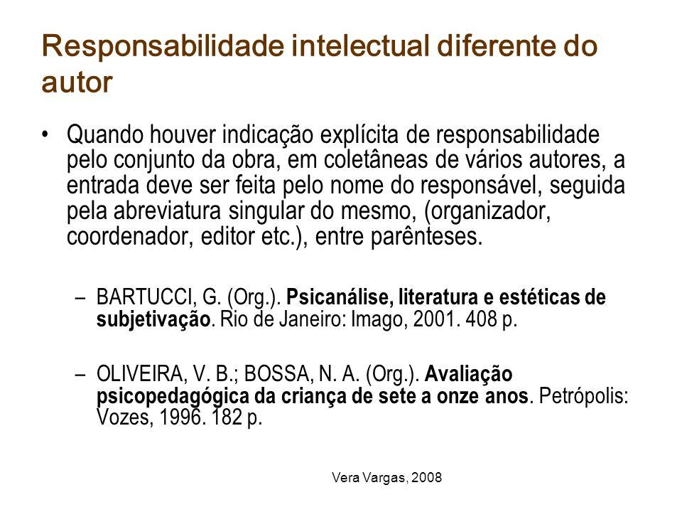 Responsabilidade intelectual diferente do autor