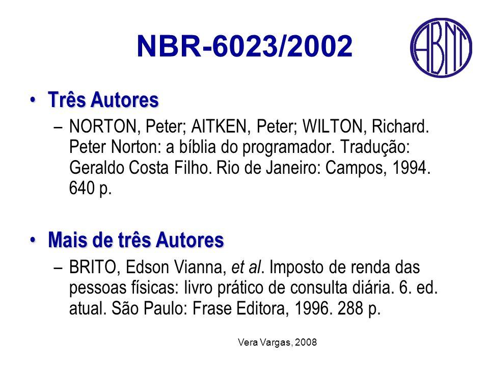 NBR-6023/2002 Três Autores Mais de três Autores