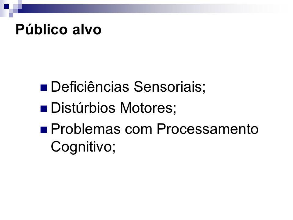 Público alvo Deficiências Sensoriais; Distúrbios Motores; Problemas com Processamento Cognitivo;