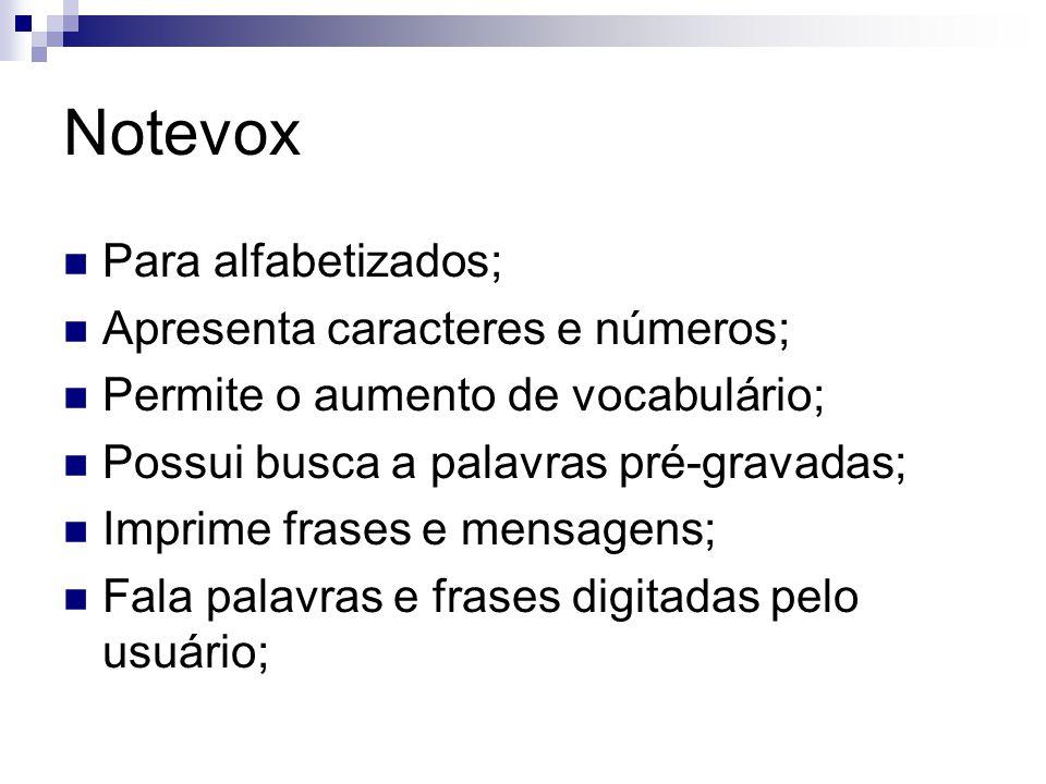 Notevox Para alfabetizados; Apresenta caracteres e números;