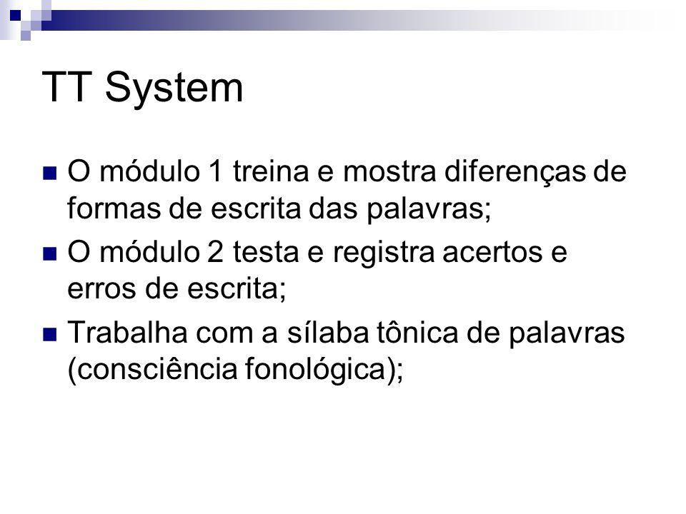 TT System O módulo 1 treina e mostra diferenças de formas de escrita das palavras; O módulo 2 testa e registra acertos e erros de escrita;