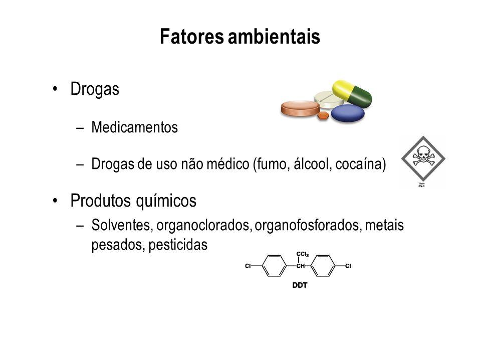 Fatores ambientais Drogas Produtos químicos Medicamentos